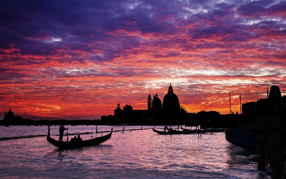 Wallpaper Venice, evening, sunset, silhouettes, water, boats, Italy