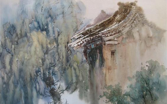 壁紙 水彩画、中国の田舎の家