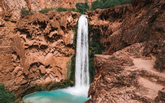 Fondos de pantalla Cascada, precipicio, piedras, paisaje de la naturaleza