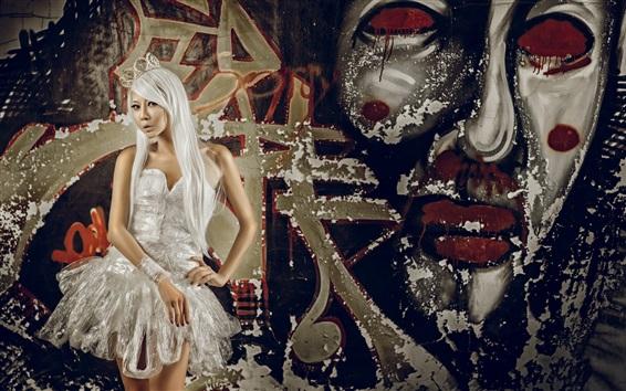 Fond d'écran Cheveux blancs Asiatique fille, jupe blanche, graffiti mur