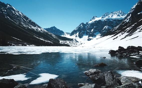 Papéis de Parede Inverno, neve, montanhas, lago, pedras