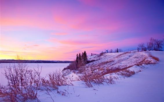 Fond d'écran Hiver, neige, coucher de soleil, rivière, moulin à vent