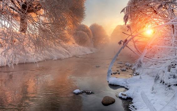 Обои Зима, снег, деревья, ветки, река, рассвет, солнечный свет