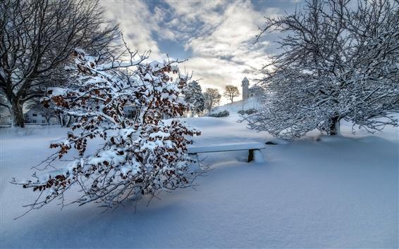 Fond d'écran Hiver, neige épaisse, arbres, banc, maisons