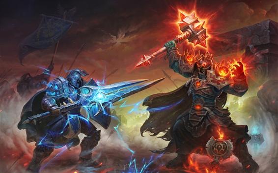 Fondos de pantalla World of Warcraft, espada, armadura, martillo, cuadro de arte