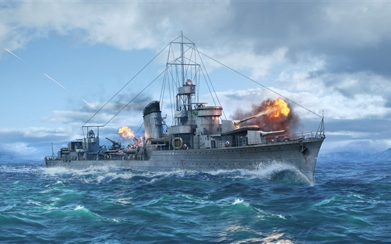 Wallpaper World of Warships, destroy, sea, ship
