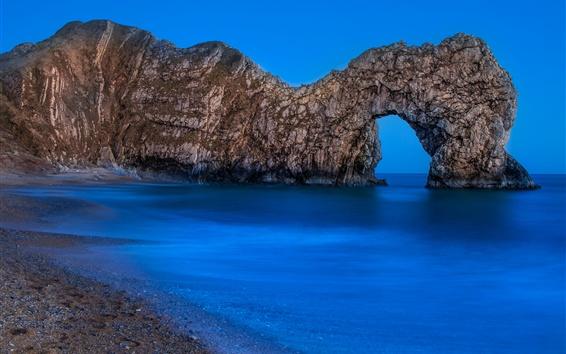 Wallpaper Arch, sea, blue, dusk