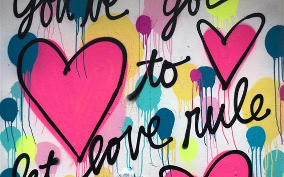 Papéis de Parede Desenho de graffiti de arte, parede, coração de amor