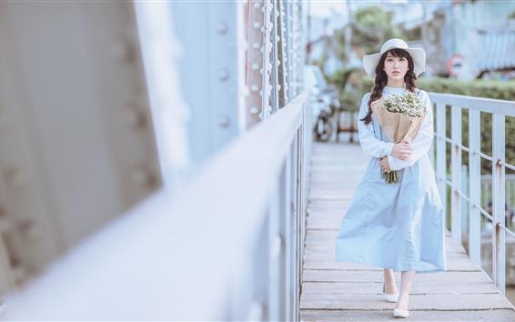 Wallpaper Asian girl, flowers, hat, white style