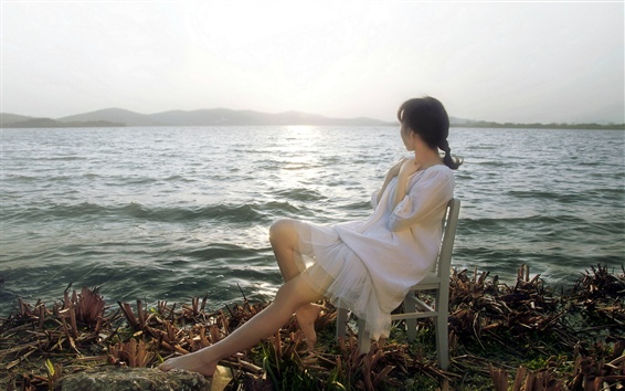Asian girl look at sea, chair, sun Wallpaper Preview