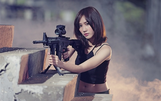 Asian girl, short hair, rifle Wallpaper Preview