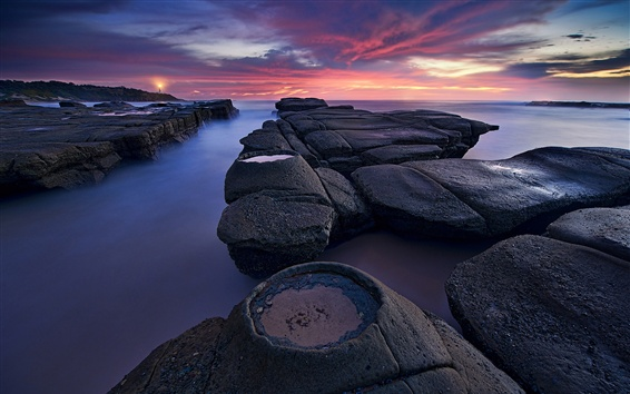 Wallpaper Australia, New South Wales, lighthouse, morning, stones, sea, clouds