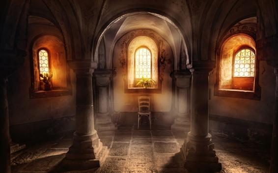 Papéis de Parede Basílica, colunas, janelas, luz do sol, plantas