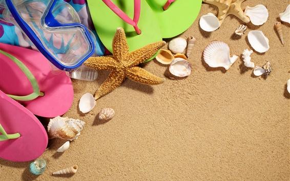 Wallpaper Beach, starfish, shell, sand, flip flop