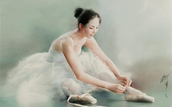 壁紙 美しいバレリーナ、中国の女の子、水彩画