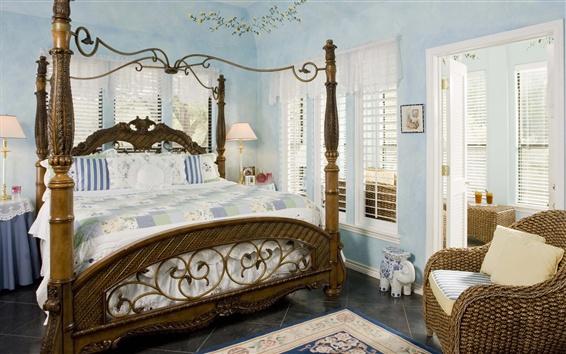 Wallpaper Bedroom, bed, chair, window