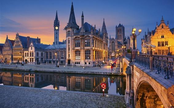 Wallpaper Belgium, Ghent, bridge, river, lights, houses, night city