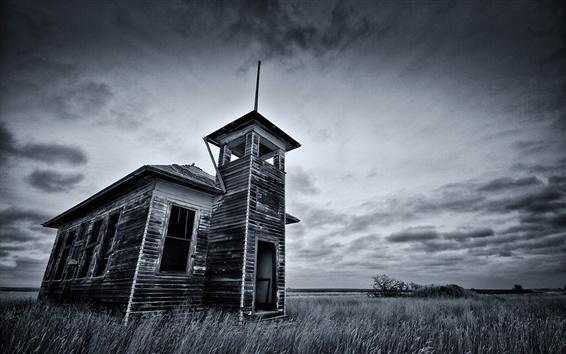 Wallpaper Black and white picture, hut, grass, field