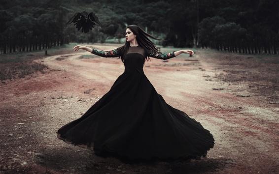 Wallpaper Black skirt girl dancing