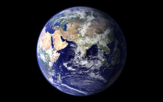Fond d'écran Blue Earth, planète, fond noir