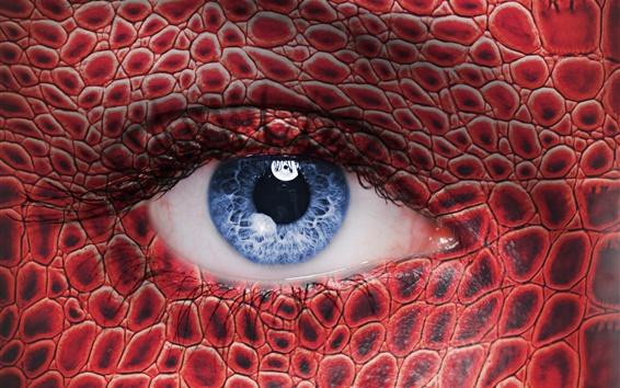 Wallpaper Blue eyes, eyelashes, scales
