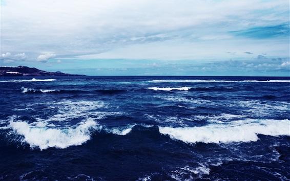 Papéis de Parede Mar azul, crepúsculo, ondas