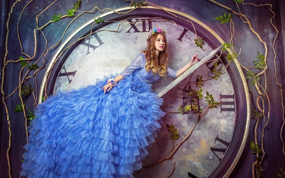 Wallpaper Blue skirt Asian girl sit at clock arrow