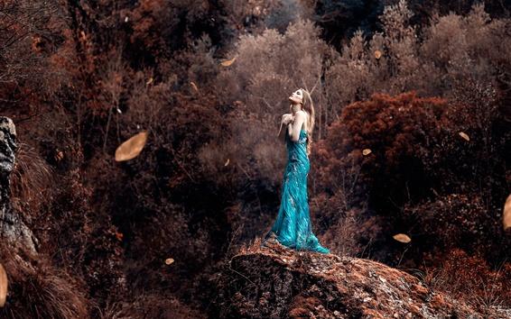 Wallpaper Blue skirt girl, autumn