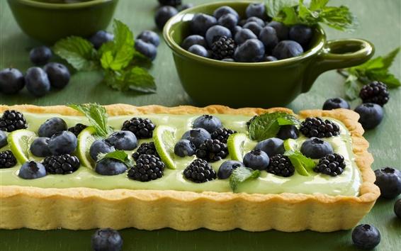 Wallpaper Blueberries, blackberries, pie, cake