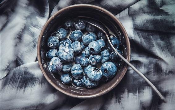 Wallpaper Blueberries, bowl, spoon