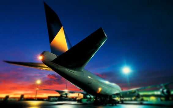 Wallpaper Boeing 747 aircraft at night, airport, rear view