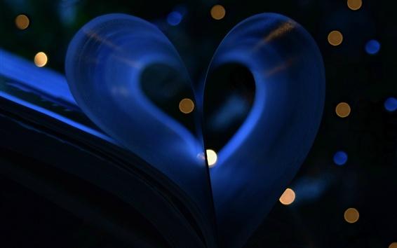 Fondos de pantalla Libro, amor corazón, noche, luces