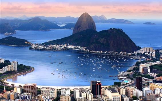 Fondos de pantalla Brasil, Río de Janeiro, ciudad, montañas, bahía, costa, barcos, mar