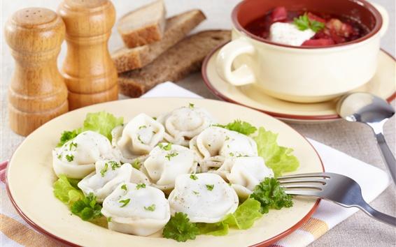 Wallpaper Breakfast, dumplings, greens, seasoning