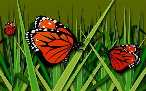Wallpaper Butterfly, grass, vector