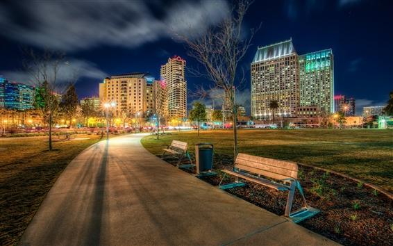 Wallpaper California, San Diego, USA, Ruocco Park, city, road, lights, night
