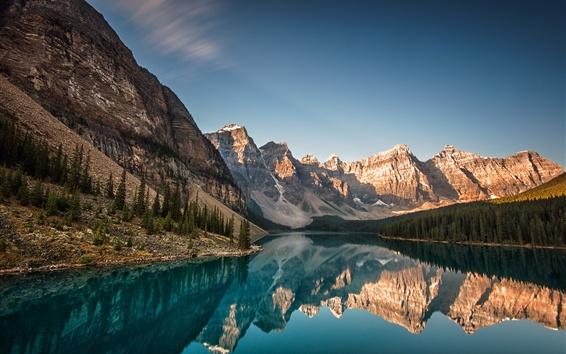 Papéis de Parede Canadá, Alberta, Lago Moraine, Parque Nacional Banff, montanhas, floresta, reflexão