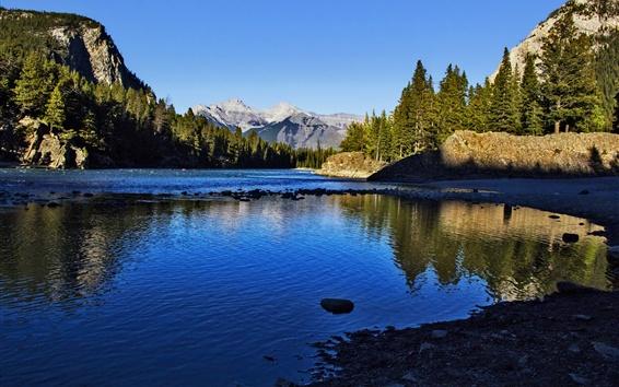 Обои Канада, Национальный парк Банф, горы, деревья, озеро, солнце
