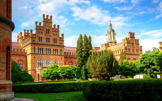 Wallpaper Chernivtsi, Ukraine, University, trees, bushes, houses