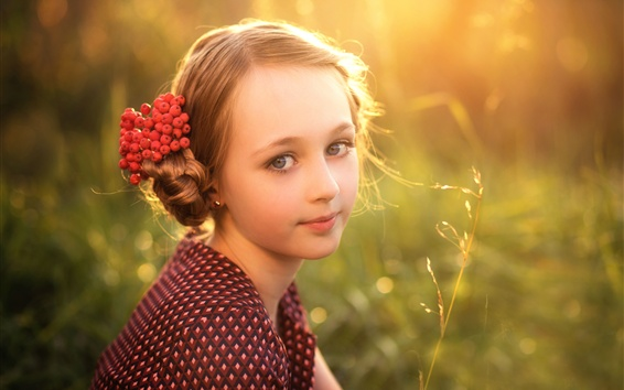 Child, girl, face, hair, berries Wallpaper Preview