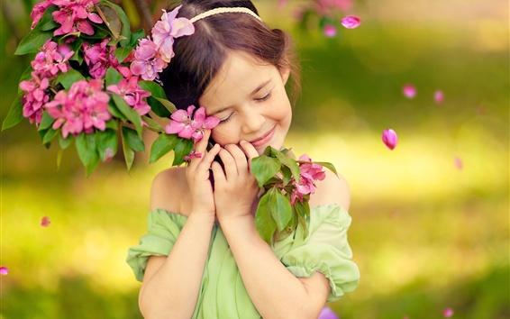 Wallpaper Childhood, little girl, smile, like flowers