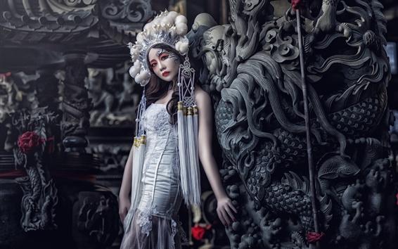 Papéis de Parede China Opera atriz, menina, maquiagem, decoração de cabeça