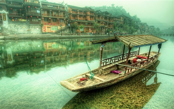 Wallpaper China, village, river, boat, houses, mountains, fog