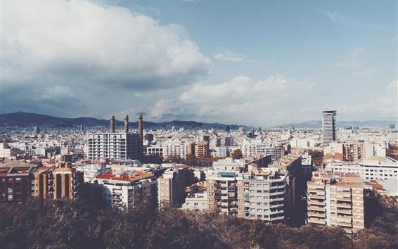 Fond d'écran Ville, maisons, bâtiments, ciel, nuages