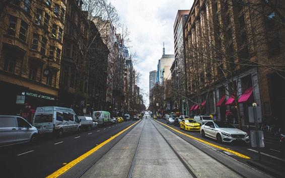 배경 화면 도시, 도로, 거리, 자동차, 건물