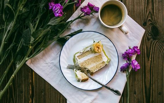 Wallpaper Coffee, cup, cake, flowers, breakfast