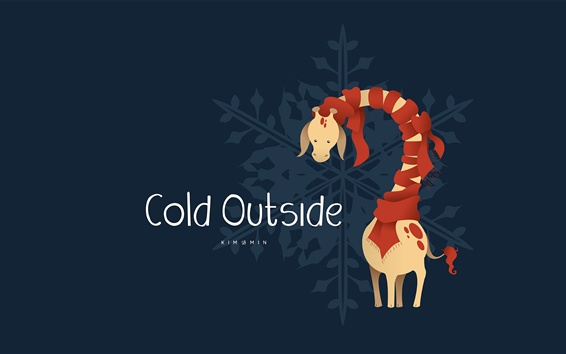 Wallpaper Cold Outside, giraffe, scarf
