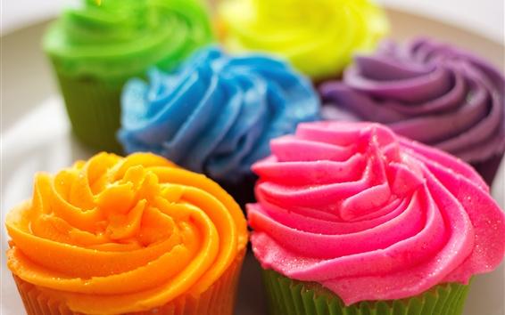 Wallpaper Colorful cupcakes, cream