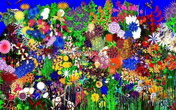 Wallpaper Colorful flowers, rabbit, abstract design