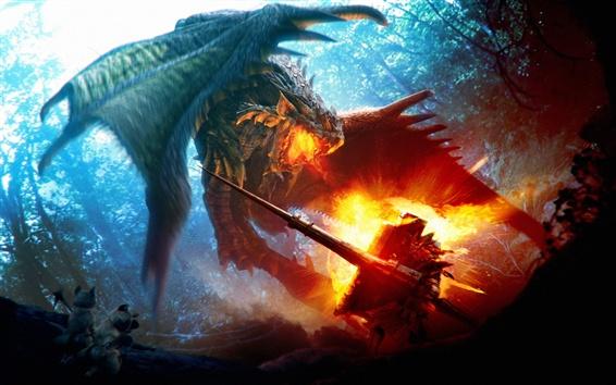 Papéis de Parede Combate, dragão, fogo, imagem de arte